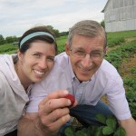 Picking strawberries with my dad